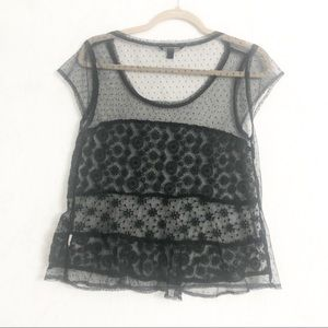 American Eagle sheer black lace top small